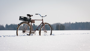 On bike in the snow